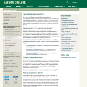Babson College Entrepreneurial Activity Guide to F-1 & J-1 Students