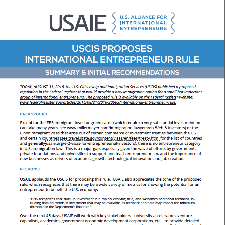 USAIE Summary & Recommendations on Proposed Rule on International Entrepreneurs