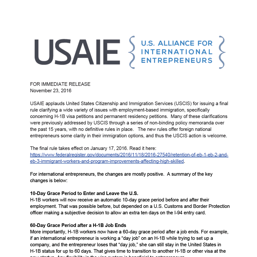 USAIE comments on USCIS Final Rule
