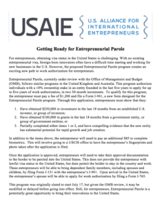 Getting Ready for Entrepreneurial Parole